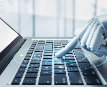 3d robot hand typing keyboard